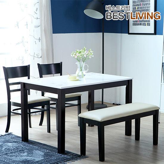 베스트리빙 캘빈하이그로시4인식탁세트/의자2개+벤치형의자1개, 웬지