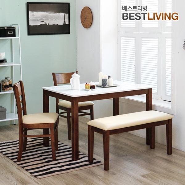 베스트리빙 캘빈하이그로시4인식탁세트(의자2개+벤치1개포함) 식탁세트, 엔틱