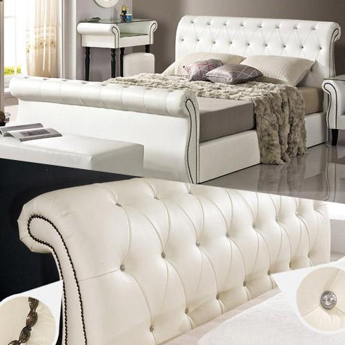 크렌시아 K317 가죽 통판형 킹 침대 K+매트리스, 아이보리, 독립CL텍스50T 포함