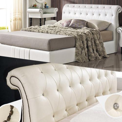 크렌시아 K319 가죽 통판형 퀸 침대 매트리스 포함, 초코, 독립스프링포함