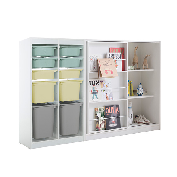 리바트온라인 프렌즈아이 2x5수납장 마카롱그린+슬라이딩화이트책장, 단일상품