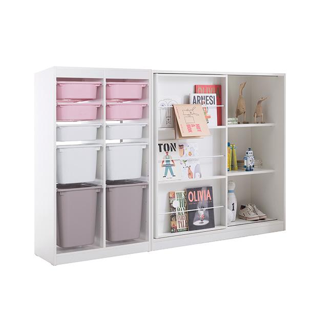 리바트온라인 프렌즈아이 2x5수납장 핑크+슬라이딩화이트책장, 단일상품