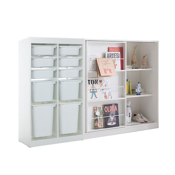 리바트온라인 프렌즈아이 2x5수납장 화이트+슬라이딩화이트책장, 단일상품