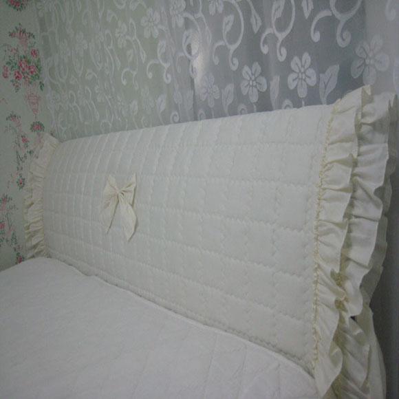 러블리하우스 침대헤드커버 맞춤제작, 사각아이보리 이중프릴, 가로160센티미만