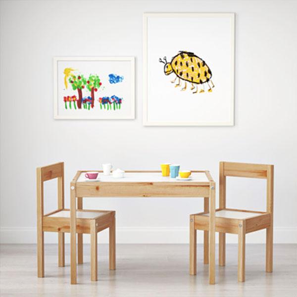 이케아 LATT 어린이테이블+의자2개세트 유아테이블 유아의자, 내추럴&화이트(어린이테이블+의자2개)