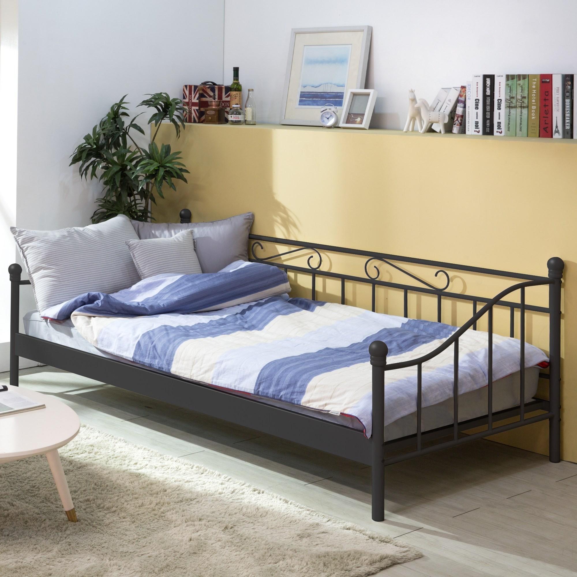에보니아 철제 데이베드 소파베드 슈퍼싱글 침대 시리즈_매트선택, A형_화이트