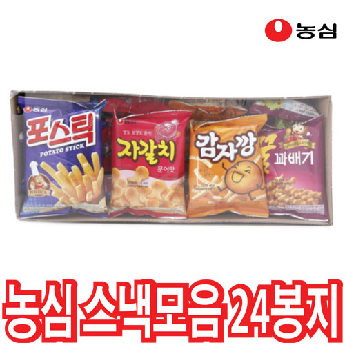 농심 미니과자스낵모음(24봉입) 과자세트, 1box, 꿀꽈배기30gx6 감자깡30gx6 포스틱30gx6 자갈치30gx6