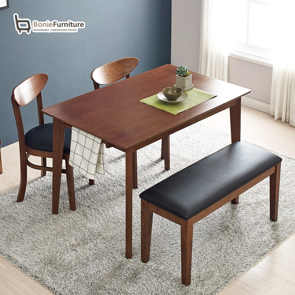 보니애가구 프리모 월넛러버우드 4인용 식탁세트 쿠션벤치형, 월넛브라운 쿠션벤치1개+의자2개