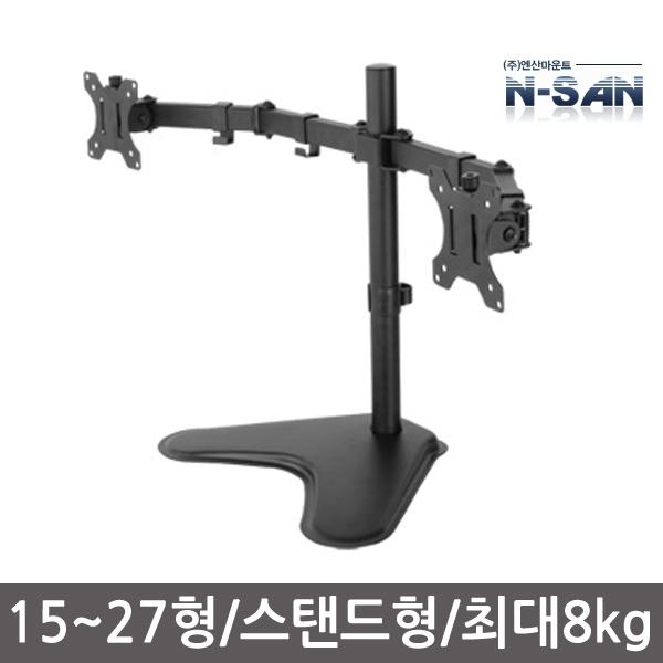 엔산마운트 LDT-T024 스탠드형 듀얼모니터거치대, 단일상품