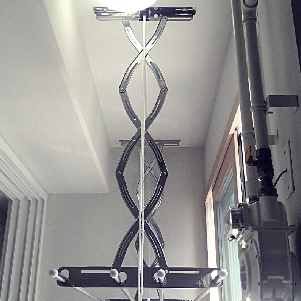 공간채움 [배송] 올스테인레스 베란다 천장 빨래건조대 3단1.9m, 1개