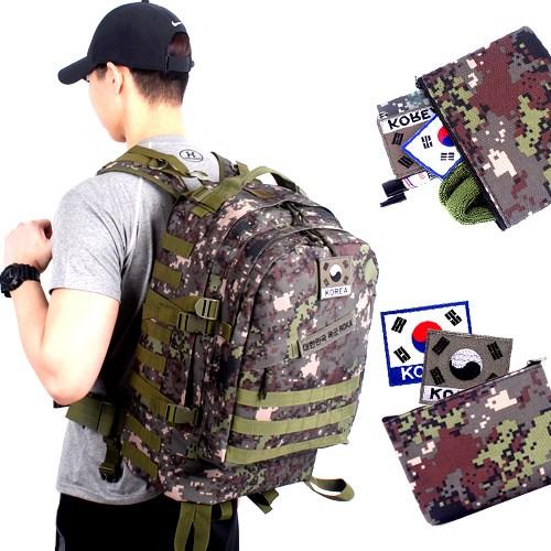 군화와고무신 군인가방 - 디지털 백팩 45L + 파우치 태극기약장 증정