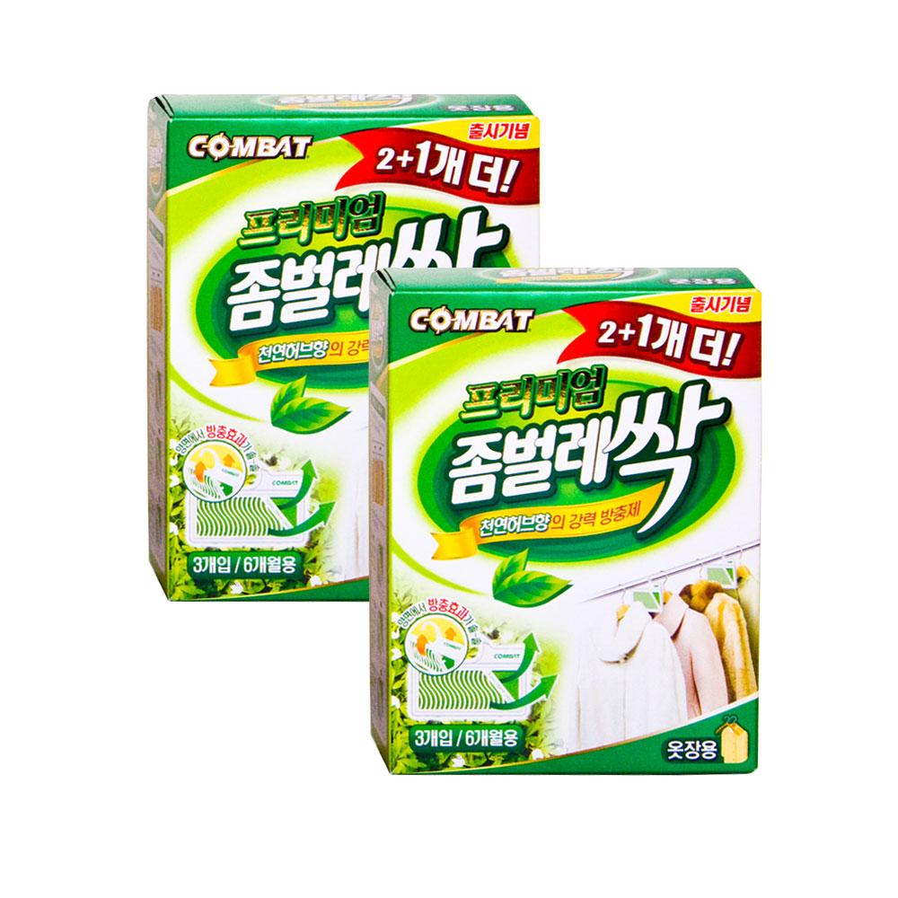 컴배트 좀벌레 싹 옷장용 3개입, 9g, 2개