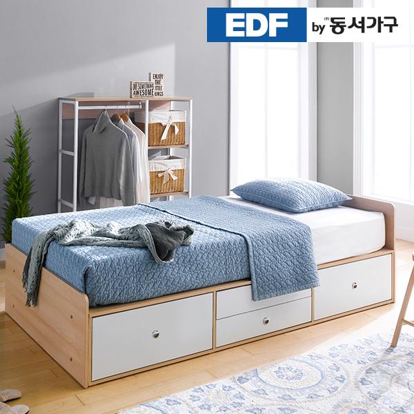 EDFby동서가구/착불 미휴 깊은서랍2단 슈퍼싱글 침대 프레임 DF636030, 메이플화이트 콤비