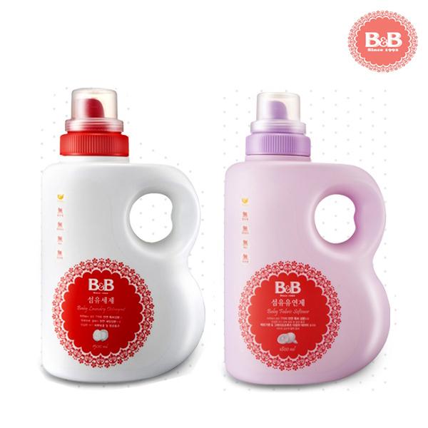 비앤비 섬유유연제 베르가못+섬유세제 (용기형) 유아 세제, 1set