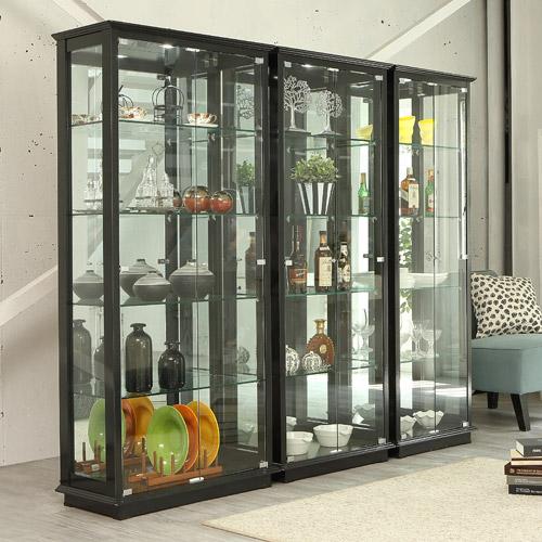 앤탑퍼니처 LED조명강화유리장식장 장식장, 5단장식장-800-블랙