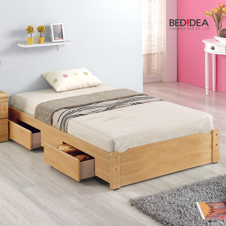 침대생각 원룸 침대 세트, 1-2.서랍형/오크/싱글, 2-1.무소음 단면 매트리스