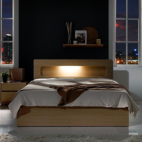 하포스 LED수납형 침대, 오크 프레임, 파워본넬 자가드 매트리스