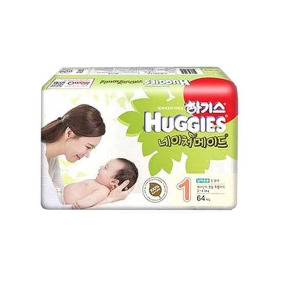 하기스 네이처메이드 밴드형 기저귀 아동공용 신생아 1단계 (3~4.5 kg), 62매