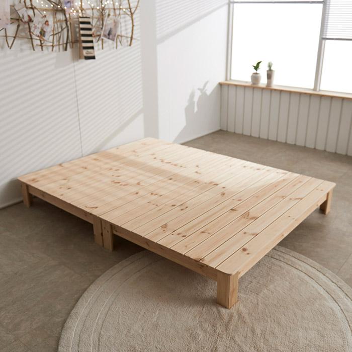 동서가구 럭셔리 소나무원목 통마루 침대 프레임, 내츄럴