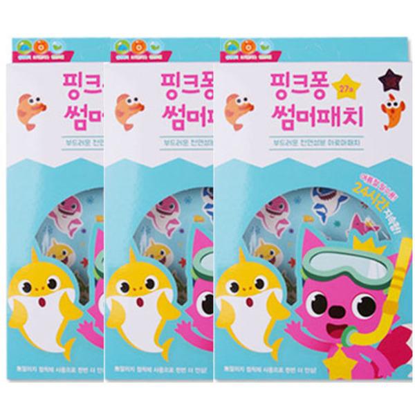 핑크퐁 유아 썸머 패치 27매입, 혼합 색상, 3개