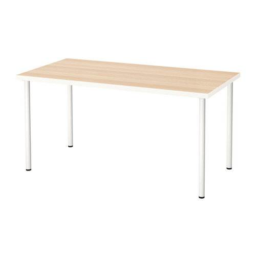 IKEA LINNMON/ADILS 테이블 입식컴퓨터책상 150x75, 테이블:화이트스테인참나무무늬 다리:화이트