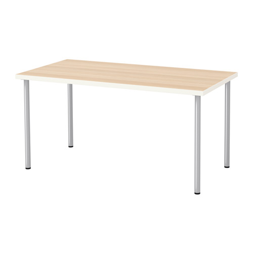 IKEA LINNMON/ADILS 테이블 입식컴퓨터책상 150x75, 테이블:화이트스테인참나무무늬 다리:실버