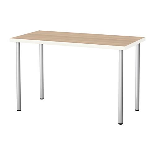 IKEA LINNMON/ADILS 테이블 컴퓨터책상 120 x 60, 테이블:화이트스테인참나무무늬 다리:실버