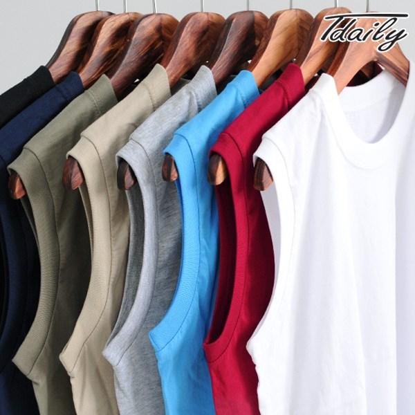 티데일리 남녀공용 후렌치 면 민소매 티셔츠