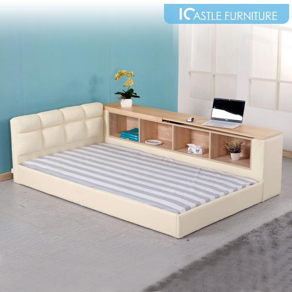 아이캐슬 칼리 수납테이블 저상형 슈퍼싱글 침대, 아이보리(누웠을때 수납테이블좌측)