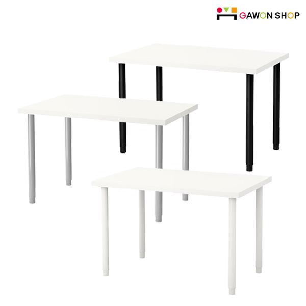 이케아 LINNMON 테이블 (100X60화이트)+OLOV 길이조절다리, 테이블:화이트 다리:블랙