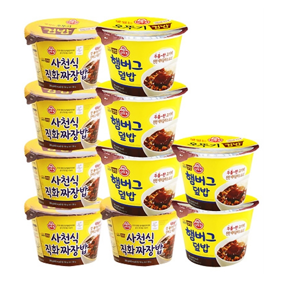 맛있는 오뚜기 컵밥 직화짜장밥5입+햄버그덮밥5입, 1세트