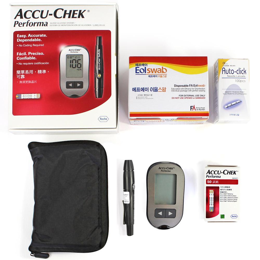 로슈 아큐첵 퍼포마 혈당측정기 세트 측정지60T+침110+솜100, 1개, Accu-Chek Performa