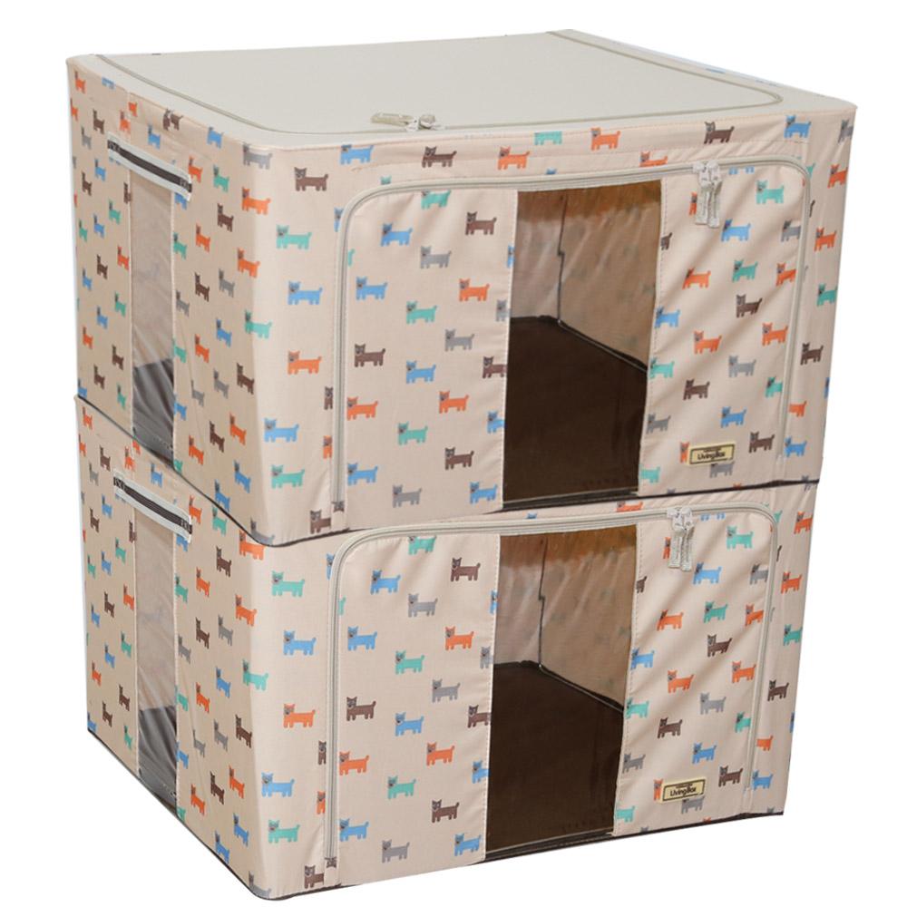 마이닝 패브릭리빙 박스 120L, 베이지, 2개