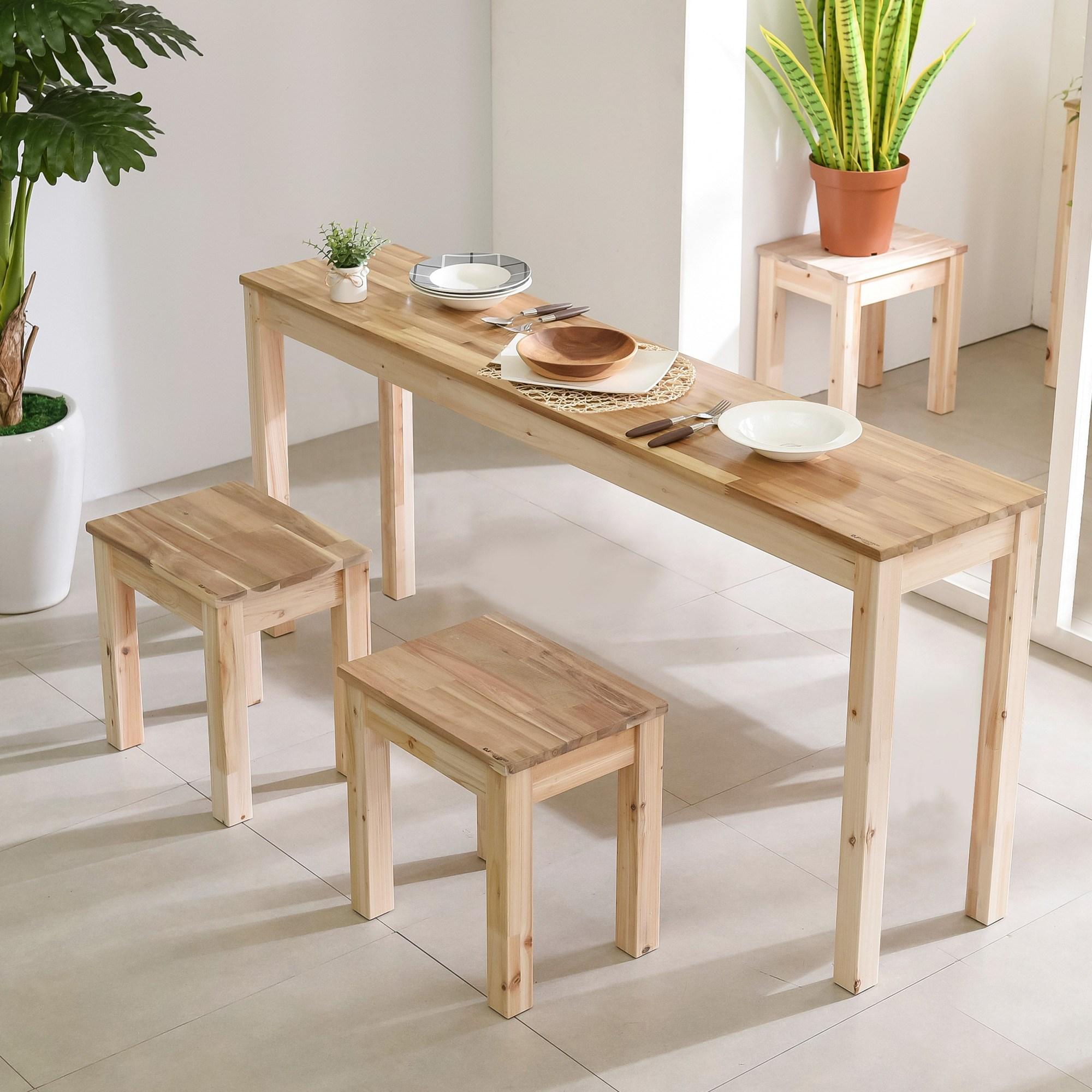 다니엘우드 아일랜드 160cm 홈바 원목 긴 테이블 사이드 보조식탁, 1600×300테이블(아카시아상판)_무도장