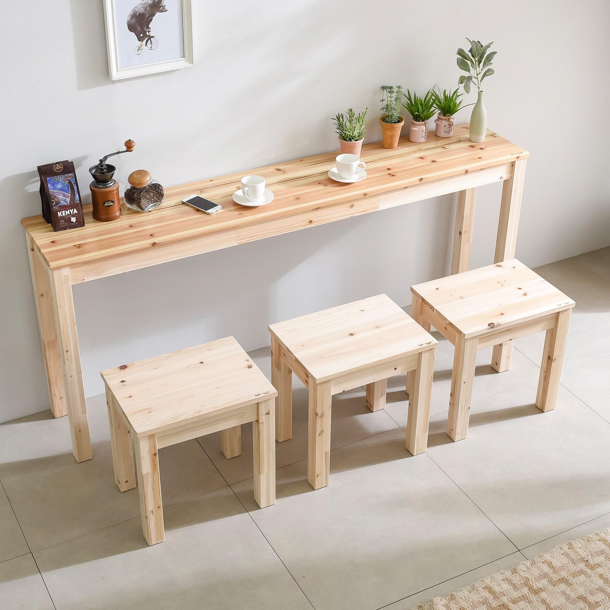 다니엘우드 아일랜드 160cm 홈바 원목 긴 테이블 사이드 보조식탁, 1600×300테이블(삼나무상판)_무도장