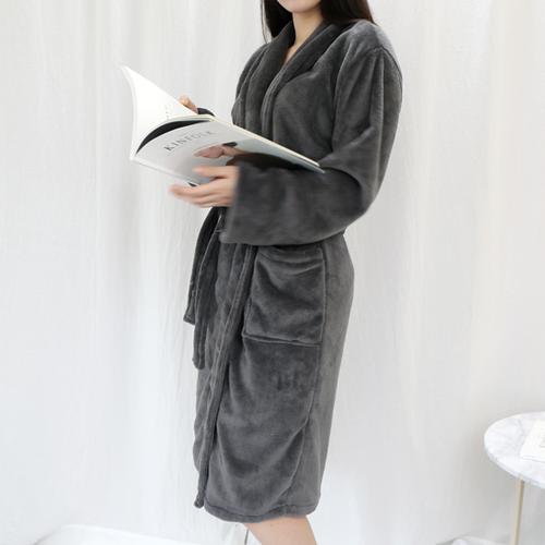 (주)엔비 부드럽고 따뜻한 극세사샤워가운, 극세사샤워가운_차콜, 1개
