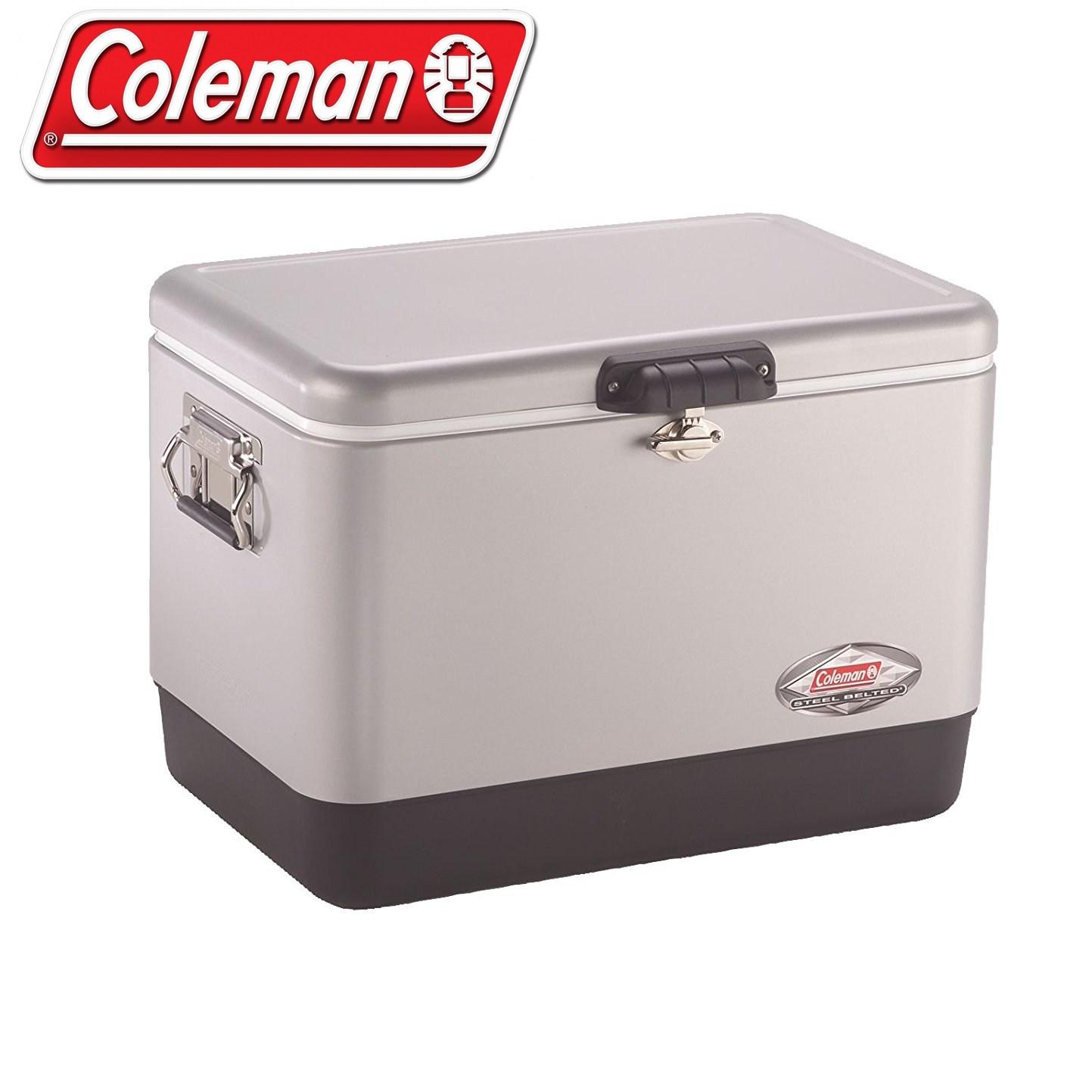 콜맨 아이스박스 54쿼터 스틸-벨트 쿨러 실버(무광) (Coleman), 51L