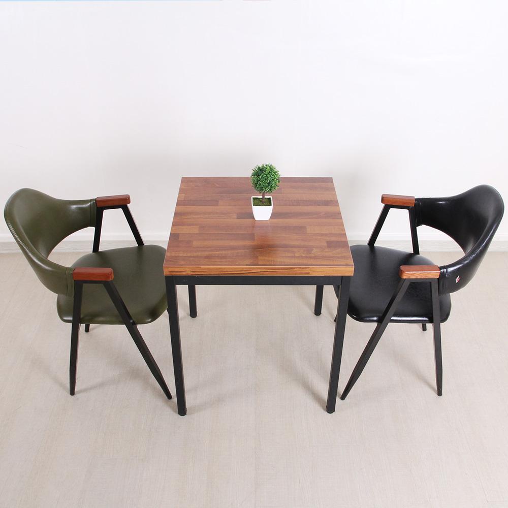 위드퍼니처 멀바우 다크올리브 티테이블세트(테이블1개+의자2개) 식탁세트, 600사각 30G형 조립다리-멀바우(18T)+다크올리브암체어-그린PU(2개)