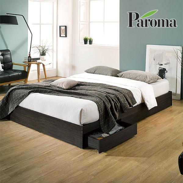 파로마 루크 멀티 수납형 침대+가성비 파워본넬 매트리스, 월넛