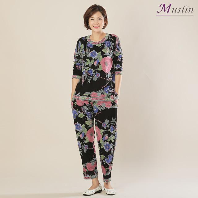 모슬린 면블랙바탕꽃 상하세트홈웨어 -HS1082-모슬린 엄마옷