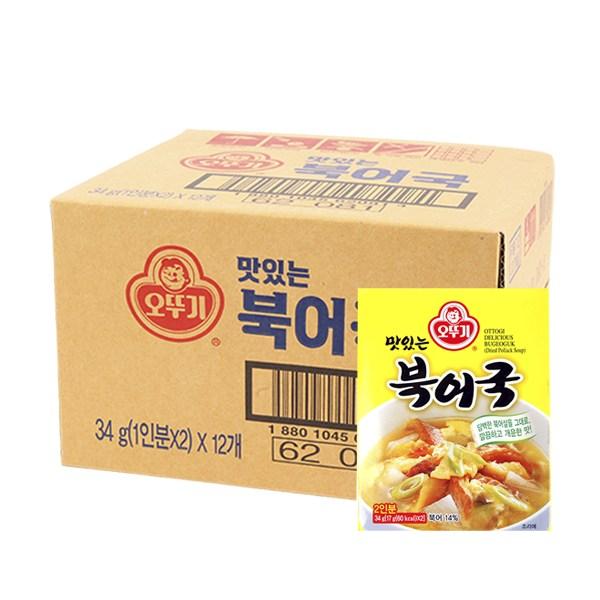 오뚜기 맛있는 북어국 34g 12개입 박스, 12