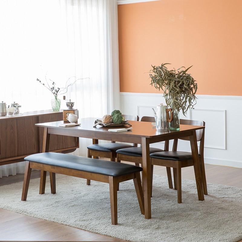 찰스퍼니처 고메 와이드 6인용 식탁세트, 브라운(벤치+의자3)