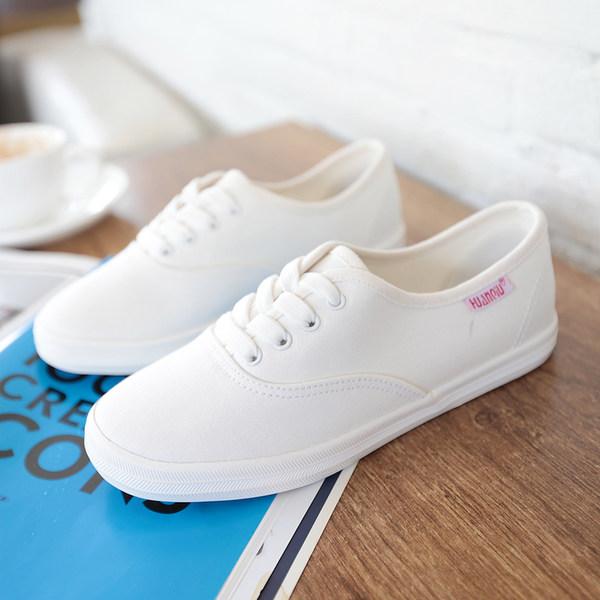 고등학생의 추세의 여자 흰색 캔버스 신발 평면 흰색 신발 야생의 2017 여름 새로운 한국어 버전은 아동 운동화