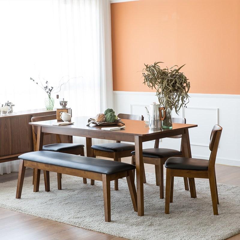 찰스퍼니처 고메 와이드 6인용 식탁세트, 브라운(벤치+의자4)