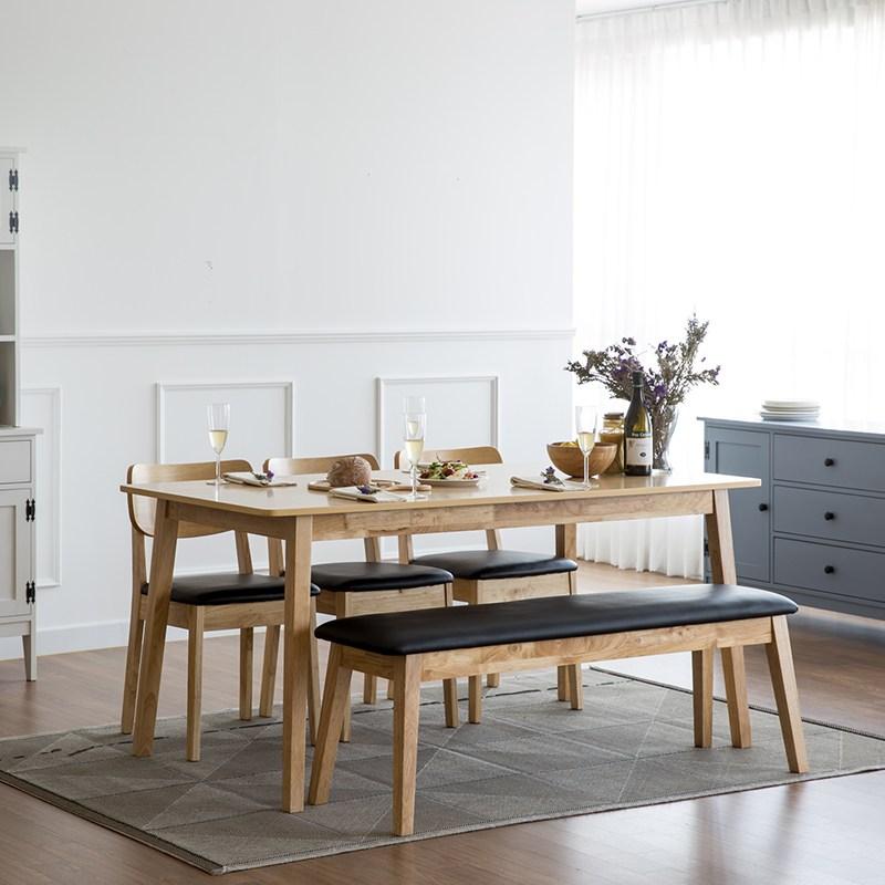 찰스퍼니처 고메 와이드 6인용 식탁세트, 내추럴(벤치+의자3)