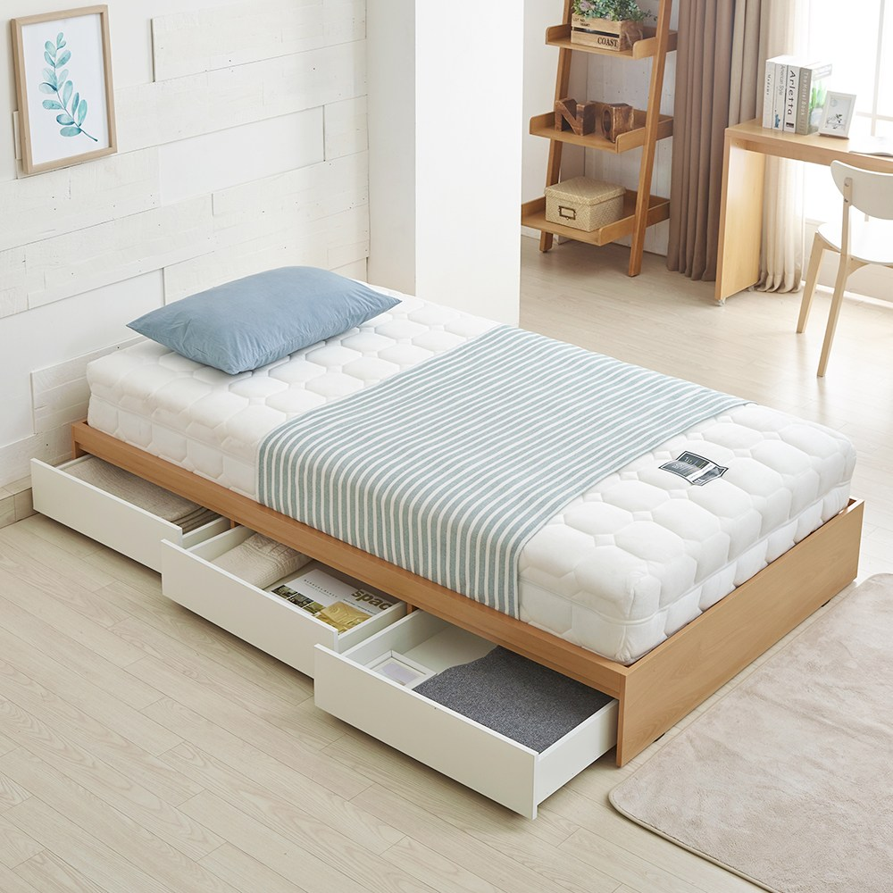 보니애가구 아이비 트리플 수납형 침대 프레임+매트리스, 오크화이트, 슈퍼싱글