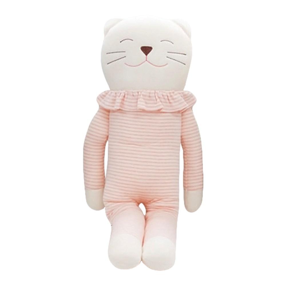 큐비앤맘 오가닉 고양이 애착인형 인형, 핑크