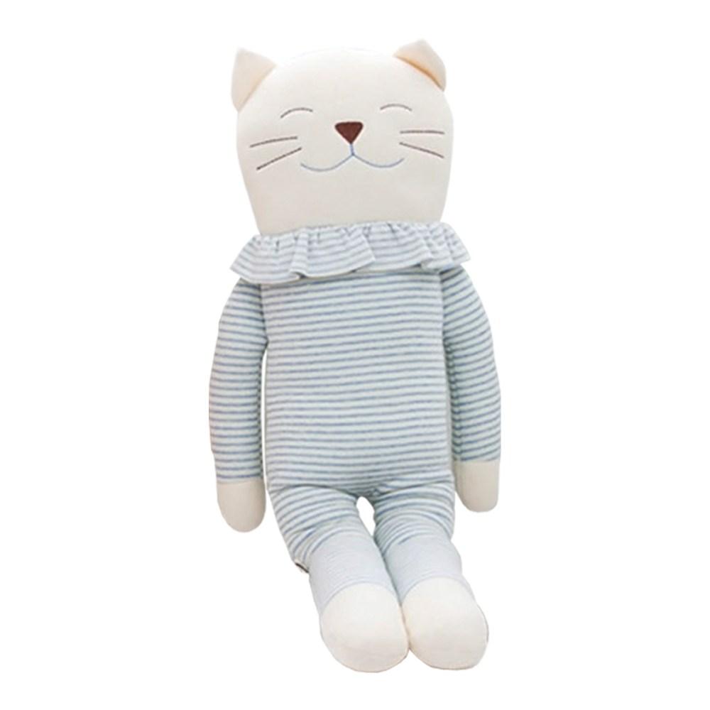 큐비앤맘 오가닉 고양이 애착인형 인형, 블루