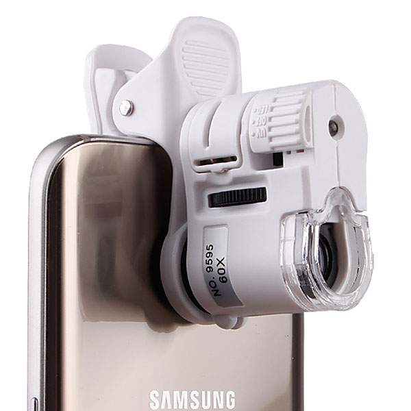 스마트폰악세사리 스마트폰 현미경 60x 관찰 촬영 핸드폰 돋보기 휴대폰 확대경 루페 렌즈, (스마트폰현미경-화이트), 1개