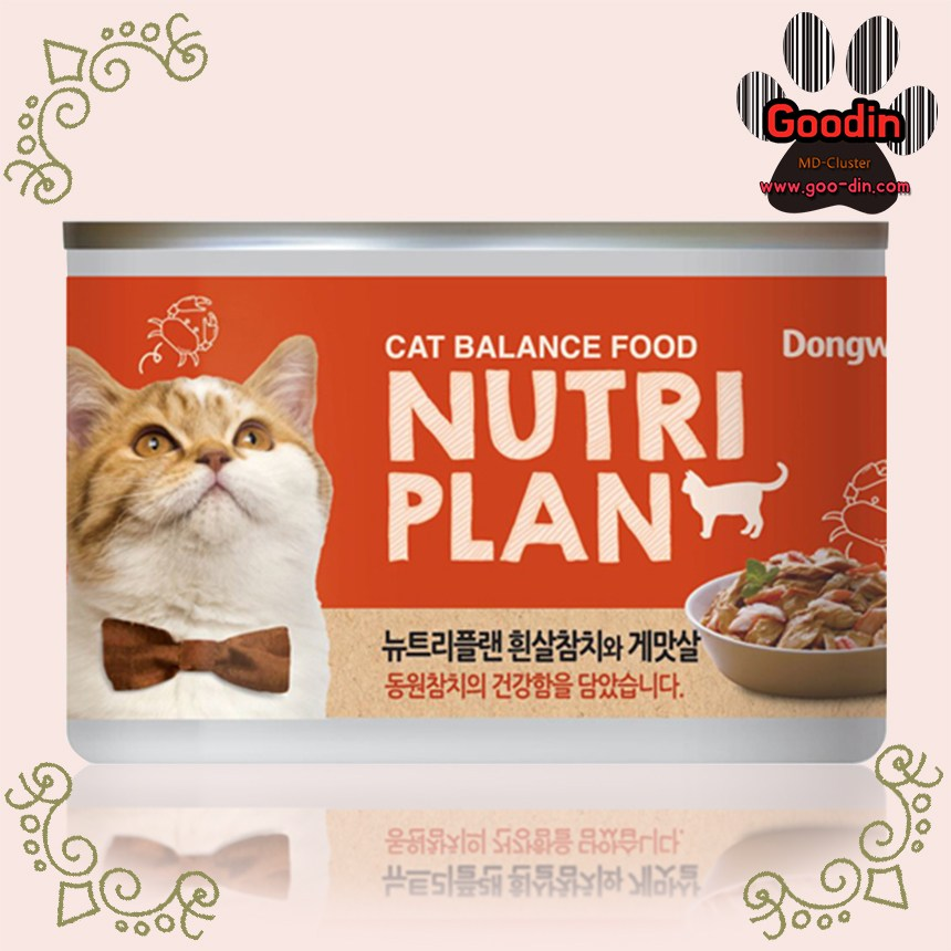 동원 뉴트리플랜 고양이습식캔 모음, 36개, 흰살참치와 게맛살